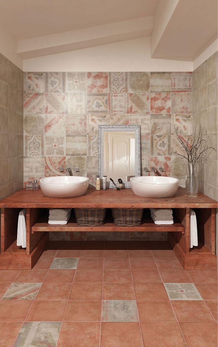 Fliesen - Fantasie Antiqua Pompei Rosso Dekormix2