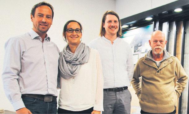 Andreas Maurer (Chef), Andrea Maurer (Büro), Felix Aumeier (Kachelofen-und Luftheizungsbauer), Rogger Erdmann (Fliesenfachverkäufer)